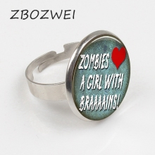 ZBOZWEI 2018 Zombies Love A Girl with Brains Ring Zombie Ring Handmade Halloween Jewelry Geek Gift Man Woman Quote Jewellery geek girl