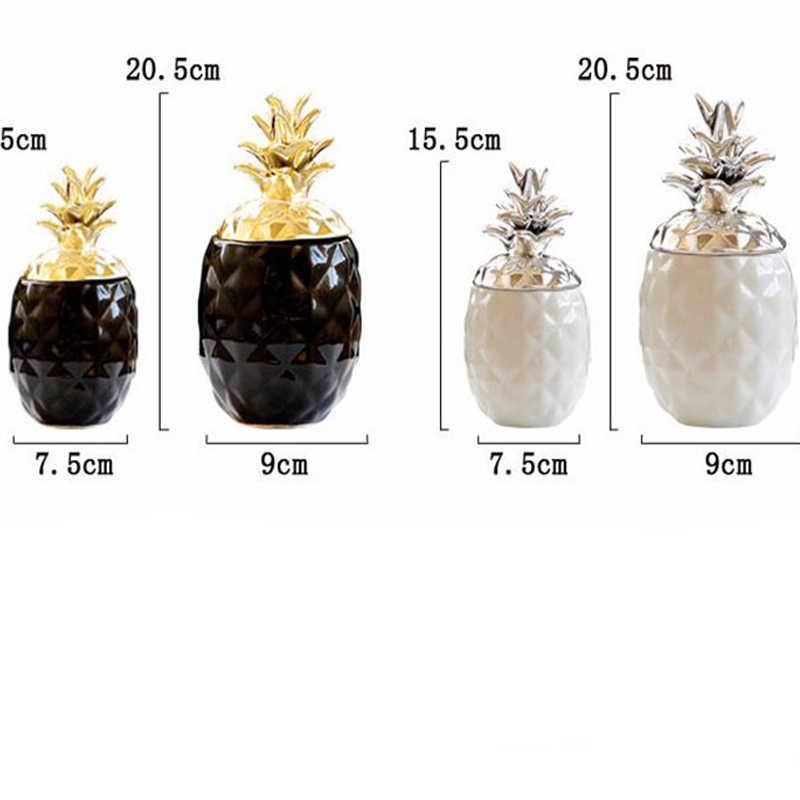 セラミックパイナップル置物黒 & 白パイナップル瓶家の装飾工芸品のイヤリングリング収納ボックス 05480