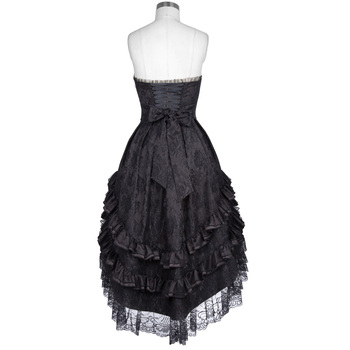 Belle Poque 2018 Gothic Victorian Dresses Women Summer Black Lace Sleeveless Strapless Ruffle Retro Vintage 50s Party Club Dress 1