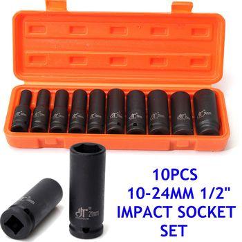 10Pcs 1/2'' inch Drive Deep Impact Metric Socket Tool Set Air Pneumatic Garage 10-24mm Impact Metric Fasteners Nuts