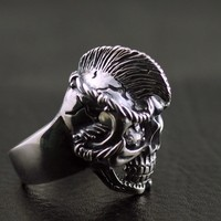 Мужские модели Moxi сухие волосы Череп Тайский серебряное кольцо
