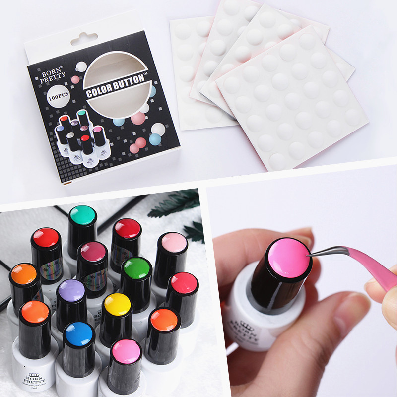 Image 2 - BORN PRETTY 10Pcs 25Pcs Nail Color Button UV Gel Polish Color Display Label White Silicone Adhesive Paster Nail Art Tool-in Sets & Kits from Beauty & Health