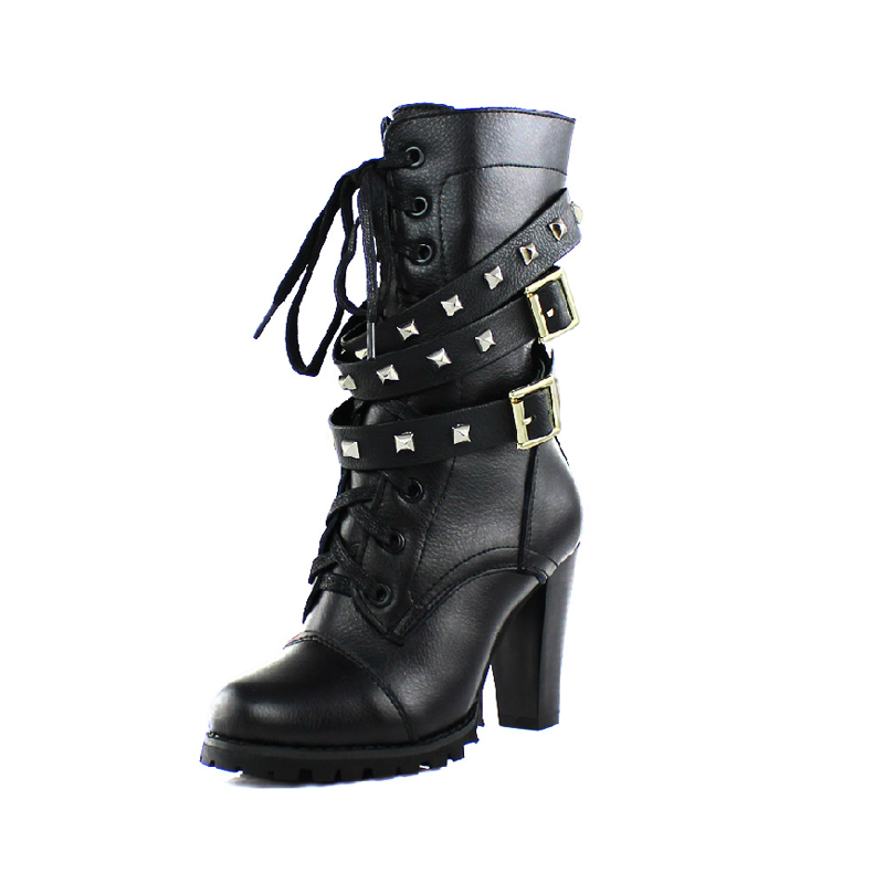 ФОТО Spring Autumn New 2014 Fashion Rivets High-Heeled Women Genuine Leather Shoes Leather Martin Boots Women Motorcycle Boots B1994