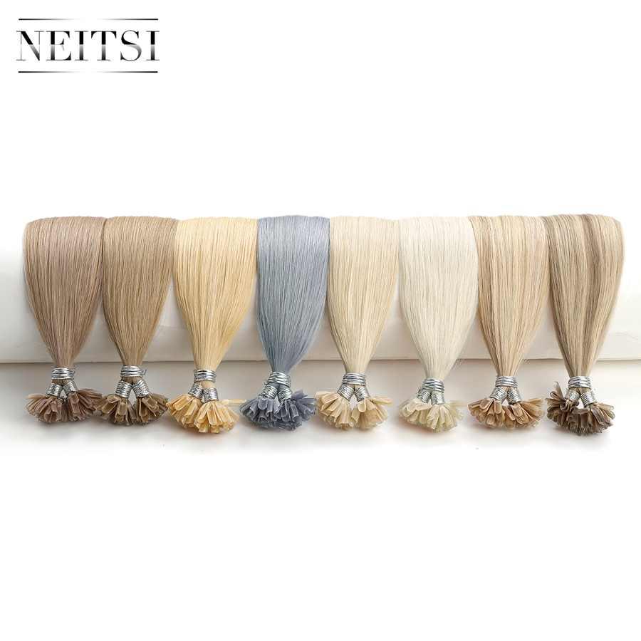 """Neitsi podwójne rysowane prosto Remy Human Fusion Hair Nail U Tip Pre Bonded kapsułki przedłużanie włosów 16 """"20"""" 24 """"28"""" 25/150/200 sztuk"""