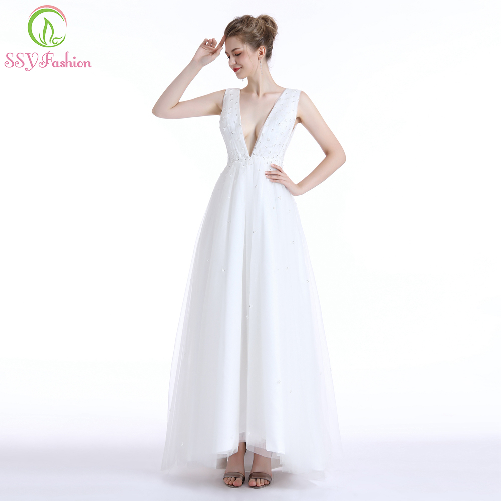SSYFashion New Luxury Evening Dress Robe De Soiree Sexy Deep V-neck White Tulle Beading Backless Prom Gown Custom Formal Dress