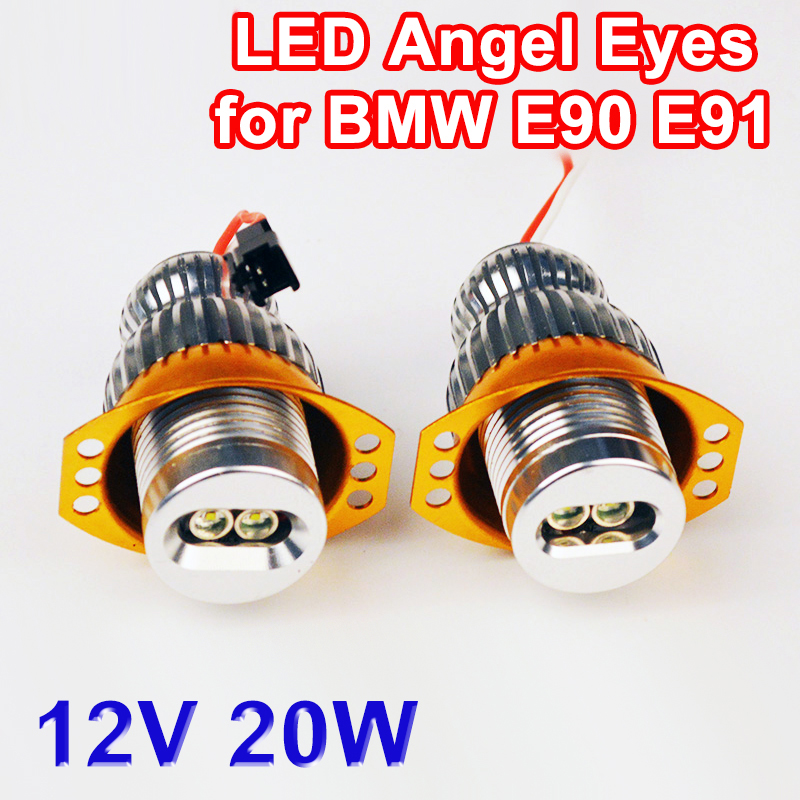 2 Pieces(1 Set) 2*10W 20W LED Marker Angel Eyes for CREE LED Chips XENON White for BMW E90 E91
