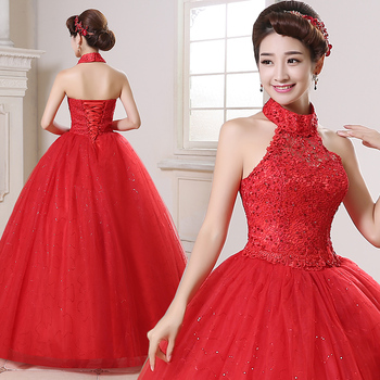Holievery Halter Neck Lace Tulle Ball Gown Wedding Dress Boho 2019 Red Ivory Bride Dress Lace Up Bridal Gowns for Mariage