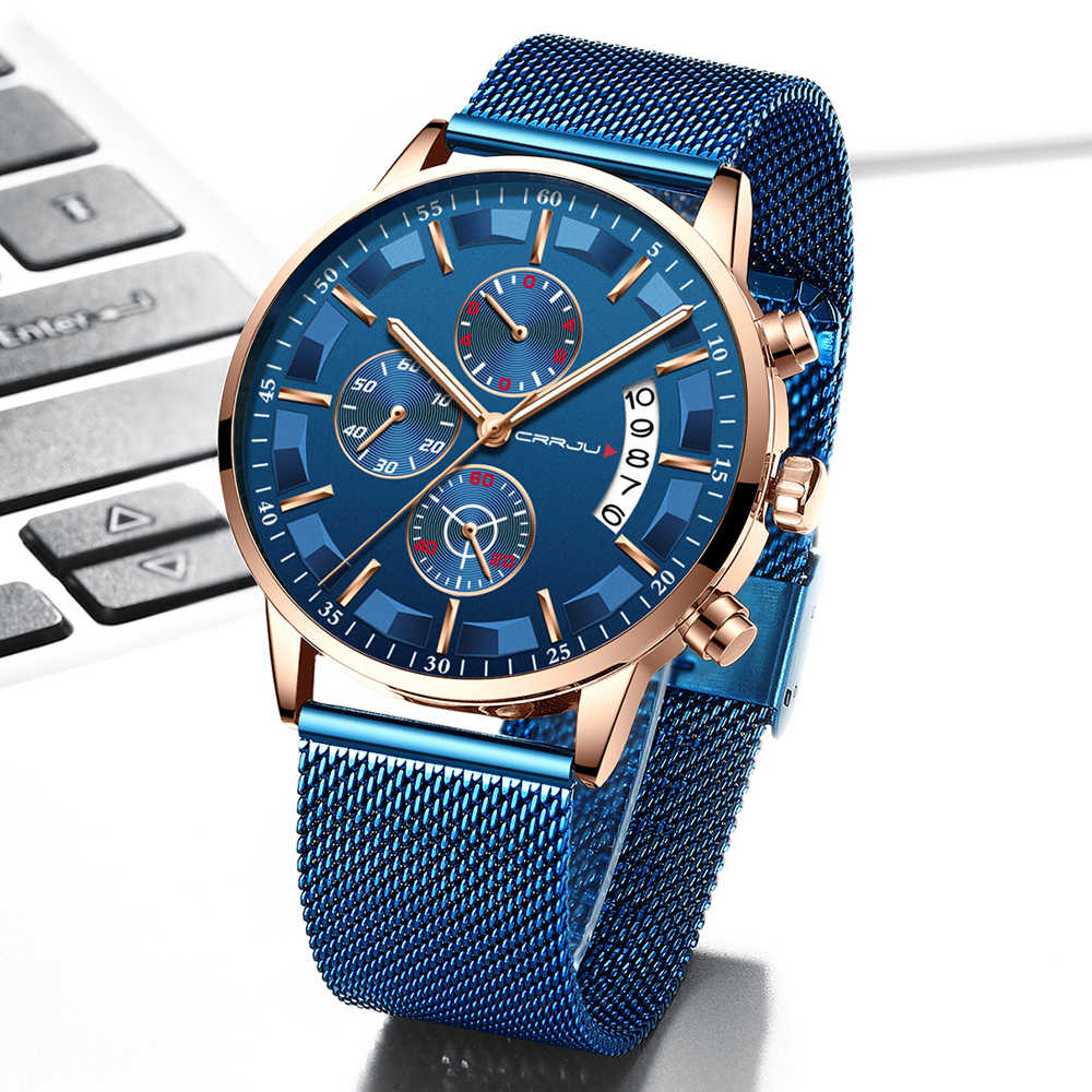 Crrju Mens Watches Waterproof Quartz Business Men Watch Top Brand Luxury Clock Casual Blue Sport Watch Relogio Masculino