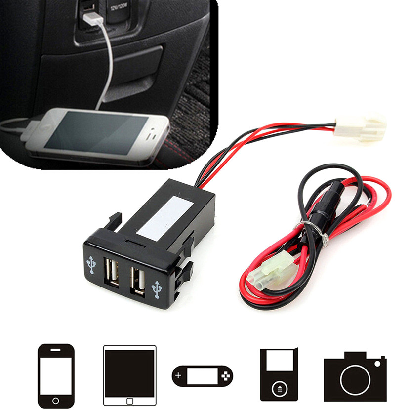 2000mah Double Port USB Car Socket Lighter Charger Adapter 12V-24V For Toyota VIGO Durable Material Easy to Install and Use