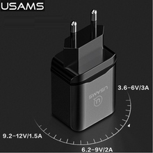 USAMS Brand Quick Travel Charger QC3.0 USB Phone Charger EU for iPhone Over-Voltage Heat Protection Quick Normal Wall Charger