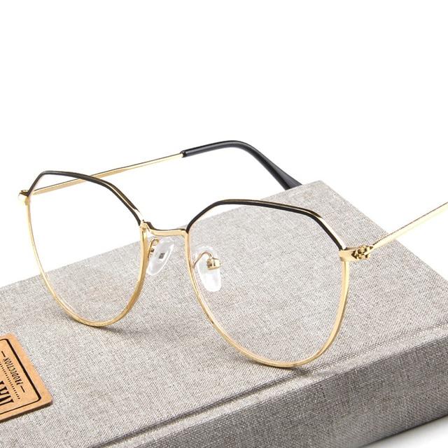 3d8a3a6a1 New Polygon Optical Glasses Frame Woman Men Glasses Retro Myopia Frames  Metal Clear lens Black Gold Eyeglasses Oculos De Grau