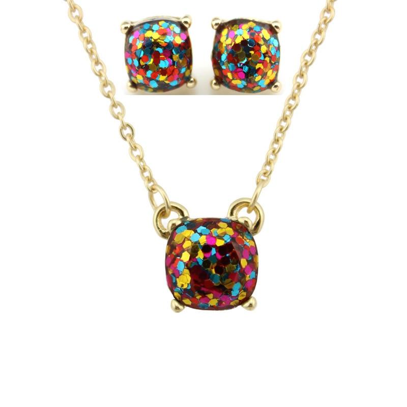 Moda ks altın küçük kare opal glitter kolye küpe setleri - Kostüm mücevherat - Fotoğraf 3