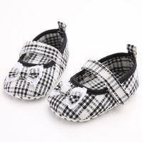 Newborn Infant Baby Girls First Walker Toddler Prewalkers Casual Plaid Bowknot Princess First Shoes