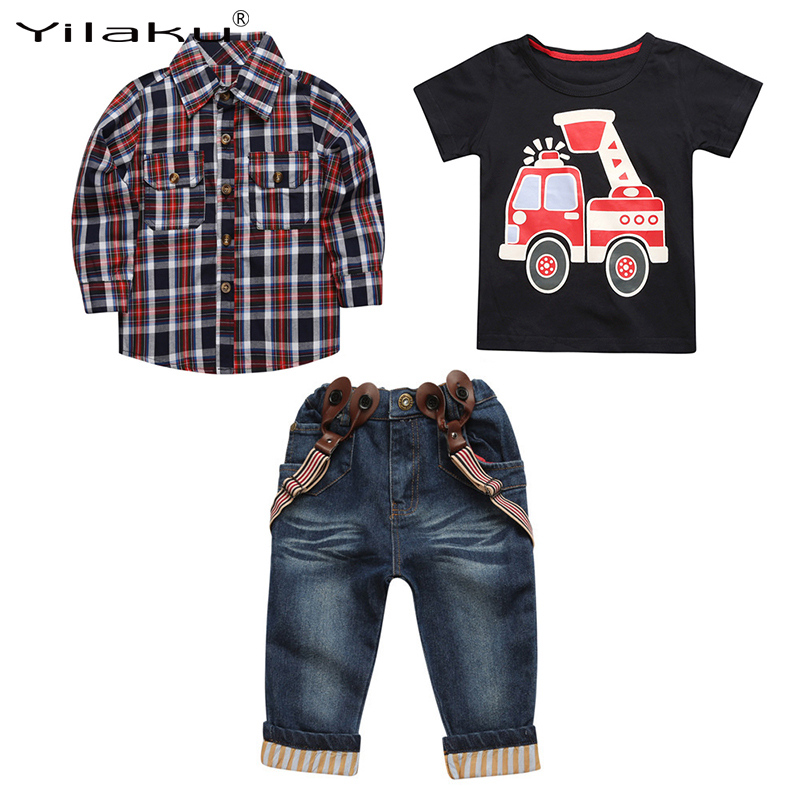 Yilaku Boys Clothes Set Autumn Casual Baby Boys Clothing Sets Children T-shirt+ Plaid Shirt+ Denim Suspender Pants Suit CF539 malayu baby kids clothing sets baby boys girls cartoon elephant cotton set autumn children clothes child t shirt pants suit