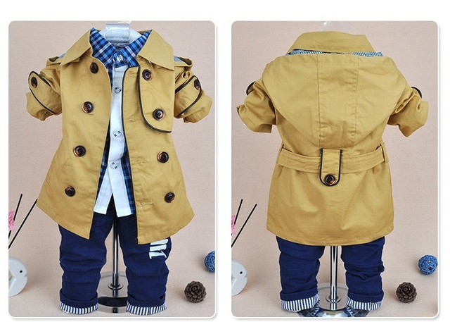 NEW 2016 spring autumn cotton denim newborn boys set double breasted coat+t shirt+pants 3pcs toddler boys suits