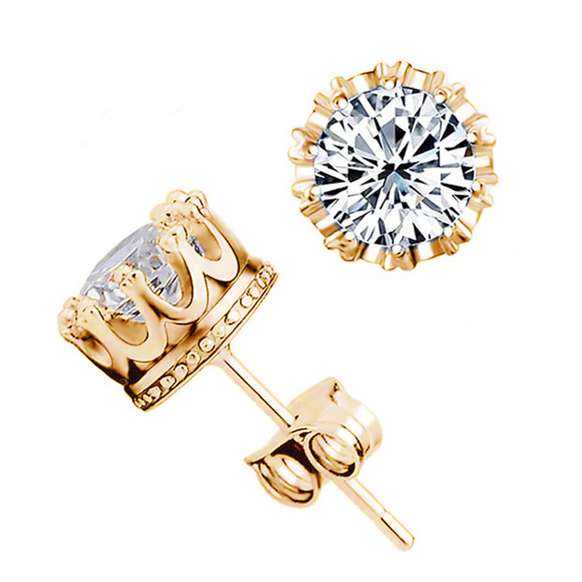 3 Colors Fashion Classic Lady Gold Color Crystal Crown Stud Earrings