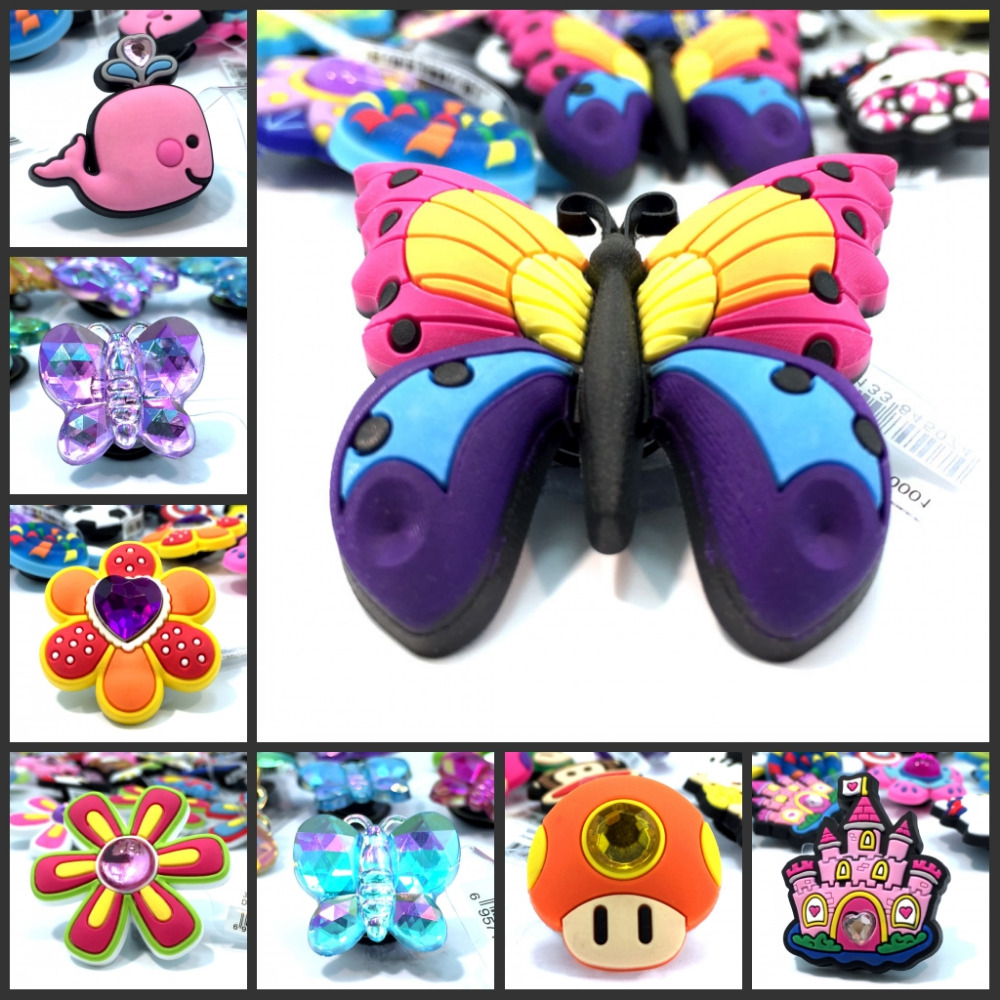 1pcs High Quality Crystal&Butterfly Shoe Charms Shoes Accessories Children Gift Shoe Buckles Croc Decorations JIBZ Ornaments