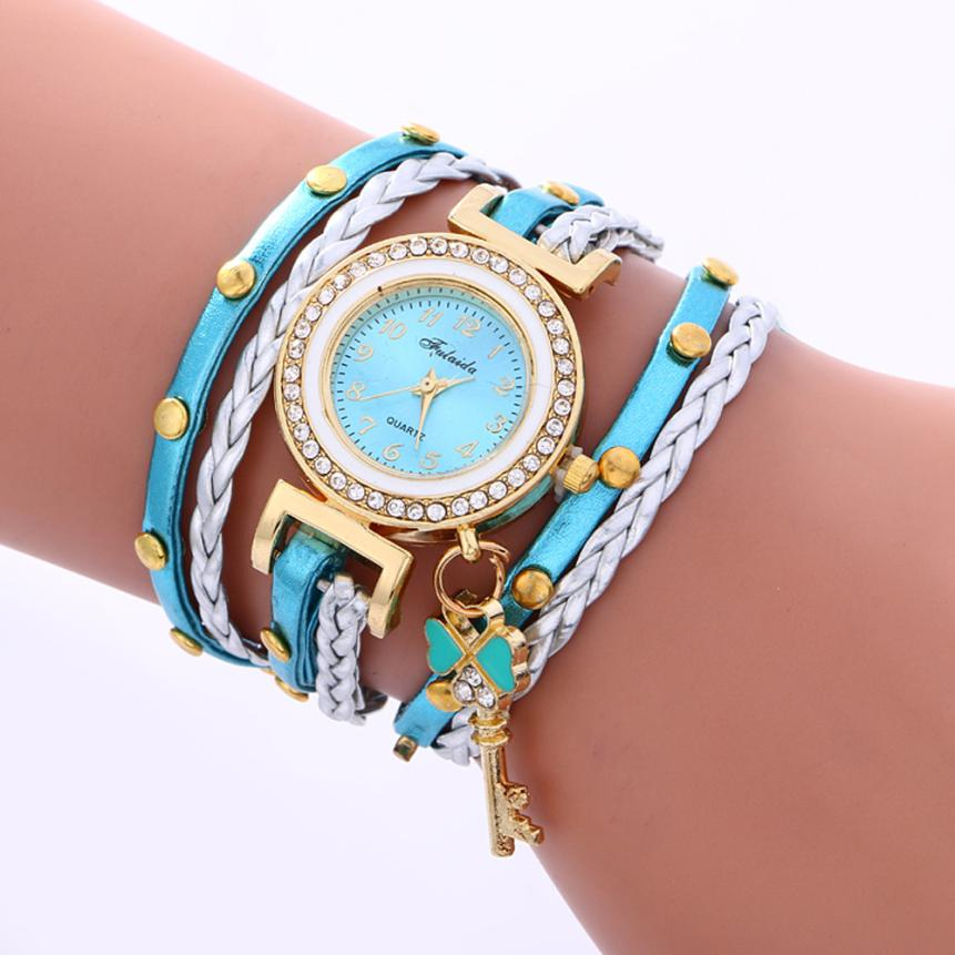 Fashion Women Watches Rivet Leather Band Gold Key Dial Clock Bracelet Weaving Lady Womans Quartz Wrist Watch Creative July28