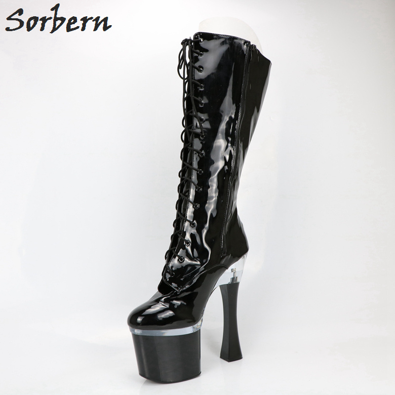 Sorbern Custom Calf Size Women Boots Wide Leg Boots For Women 18Cm Chunky Heels Thick Platform Round Toe Shiny Black Multi Color