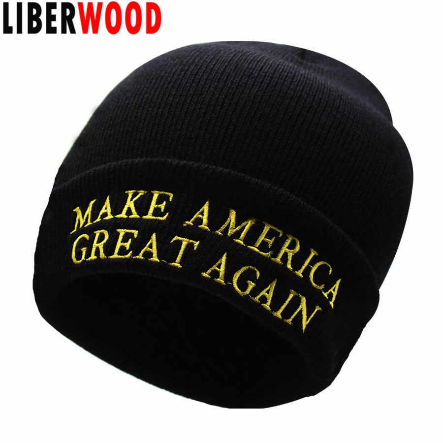 dd887a11e77  LIBERWOOD  MAGA MAKE AMERICA GREAT AGAIN Winter Beanie Hat USA President  Donald Trump hat