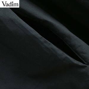 Image 4 - Vadim women sweet solid loose straight dress O neck button design mid calf female casual white midi dresses vestidos QB606
