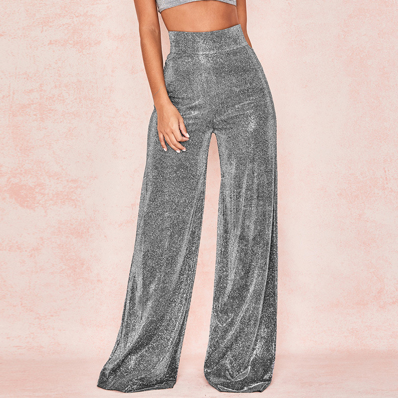 High-waist Broad-legged   Pants   Women's Wear Temperament Commuter Glittering Leisure Party Spring 2019 New   Wide     Leg     Pants