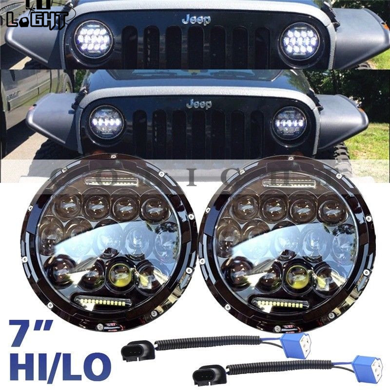 CO LIGHT 7inch Round Headlight 75W 25W Hi Lo Auto Indicator Light for 1997-2016 4x4 Jeep Wrangler JK Parking Driving DRL 12V 24V