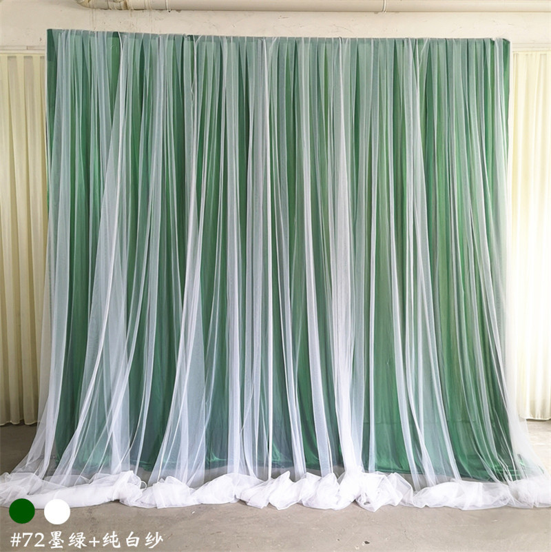 Wedding backdrop curtain event party decor customized wedding stage background ice silk drape backdrop with organza