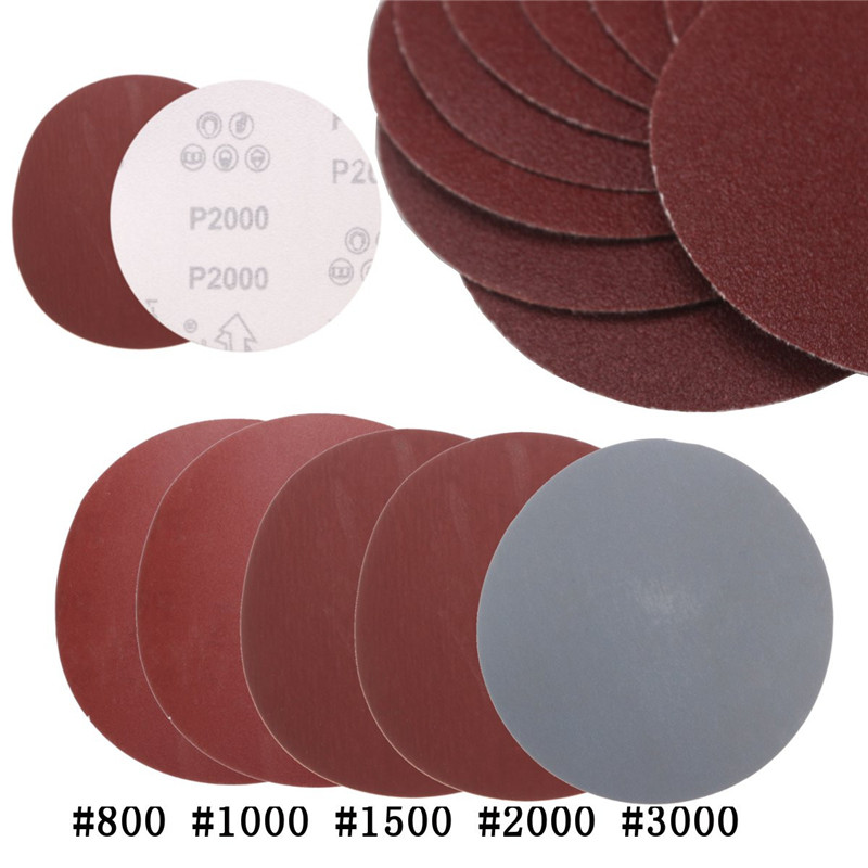 25pcs/set 5 Inch Round Sandpaper Disk Sand Sheets Grit 800/1000/1500/2000/3000 Hook & Loop Sanding Disc For Sander Grits