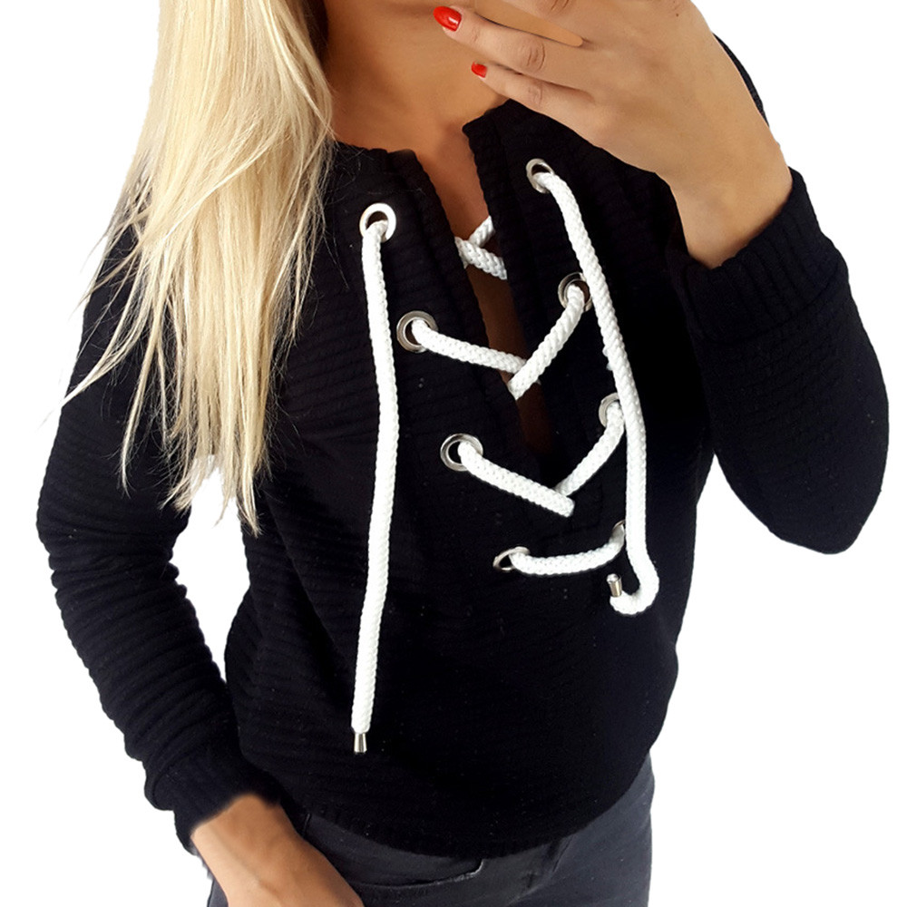 Women's Hoodies & Sweatshirts Women Lace Up V Neck Long Sleeve Casual Loose Pullover Hoodie Sweatshirt T Shirt