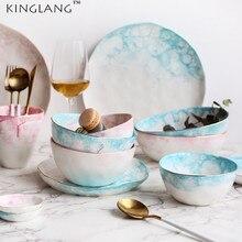 KINGLANG Ceramic Bone Blue /Pink Bubble Series Rice Bowl Salad Dinner Plate Tableware