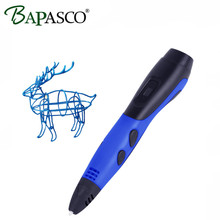 Factory Outlet BAPASCO 3D Pen Low Temperature OLED Screen 3D Magic Pen Kids Toys Intelligent Drawing Tools 3D Doodler 1.75mm PCL