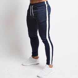 Для мужчин s повседневные брюки для пробежек Фитнес Для мужчин спортивной костюм плавки узкие пот Штаны брюки черный костюм для