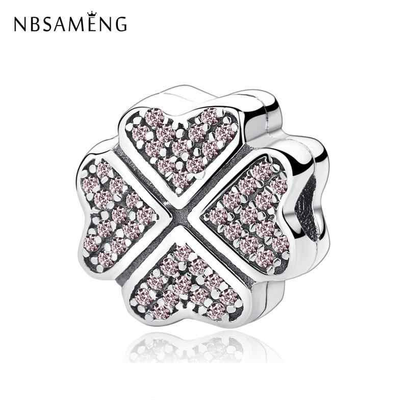 Real 925 Sterling Silver Charms Clear Crystal Petals Of Love Clover Stopper Clips DIY Beads Fit Original Pandora Bracelets 2019