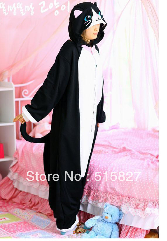 hot sale New Japan Adult Animal Solid black cat Lovely Fleece Full Sleeves Hooded Lady Nightwear