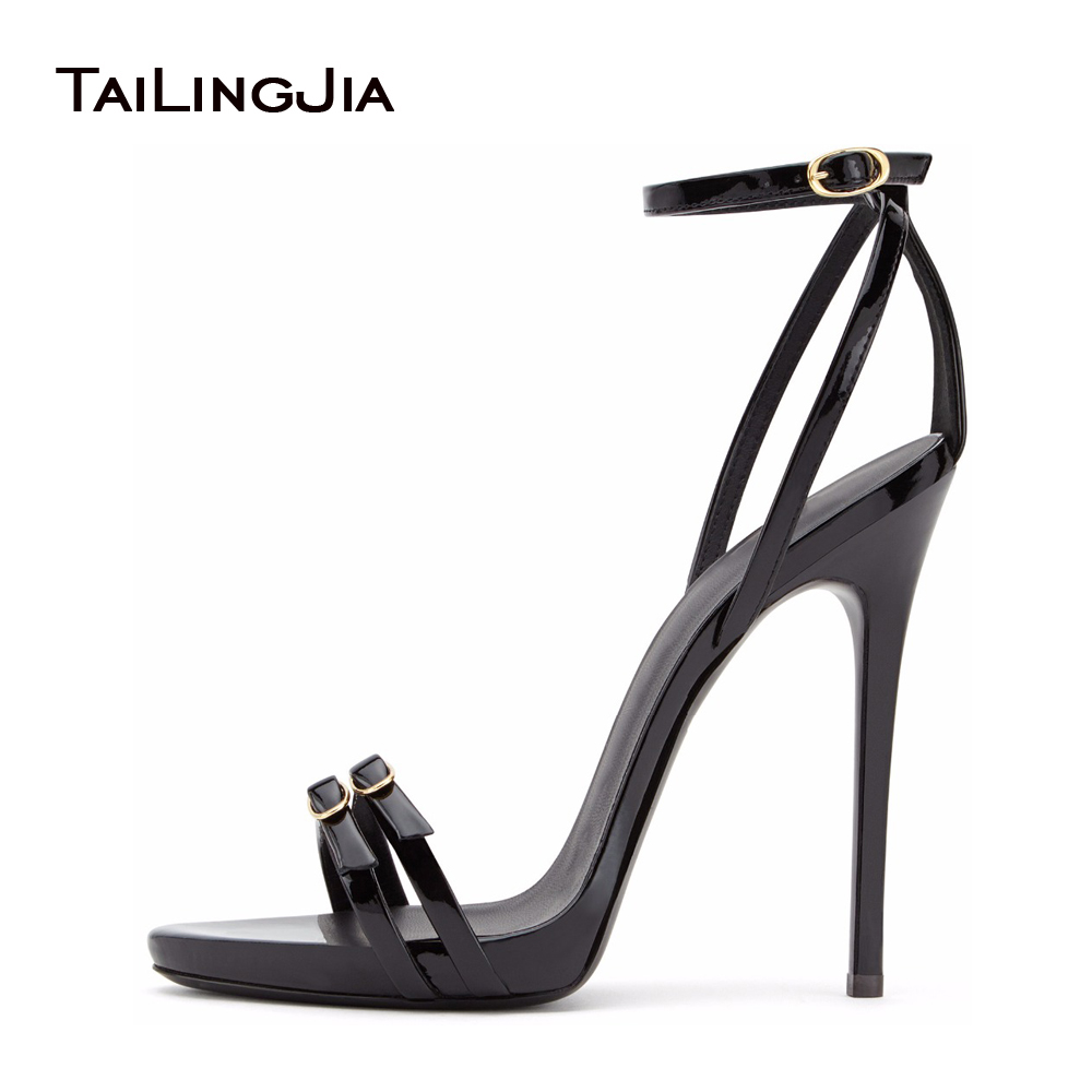 Women Strappy Heels Evening High Heel Black Patent Leather ...