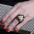 Brilhante Anel Lindo! coração em forma de anéis por IP Placa de Ouro Preto e Ouro Pave Definir com Alta Qualidade Cubic Zirconia Anel