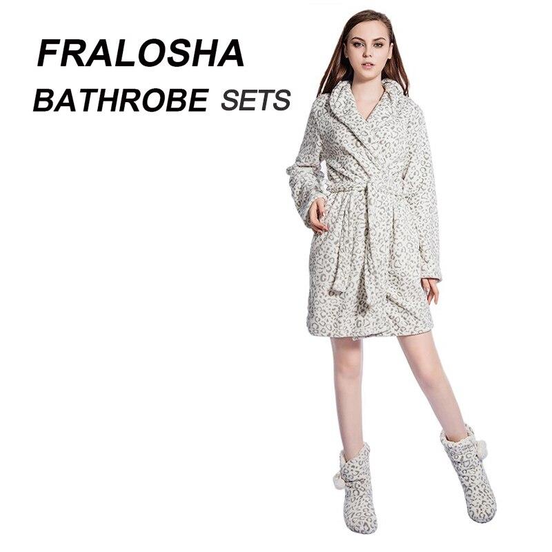 Hot Sale FRALOSHA Women Leopard Warm Flannel Bath Robe Bridal ...