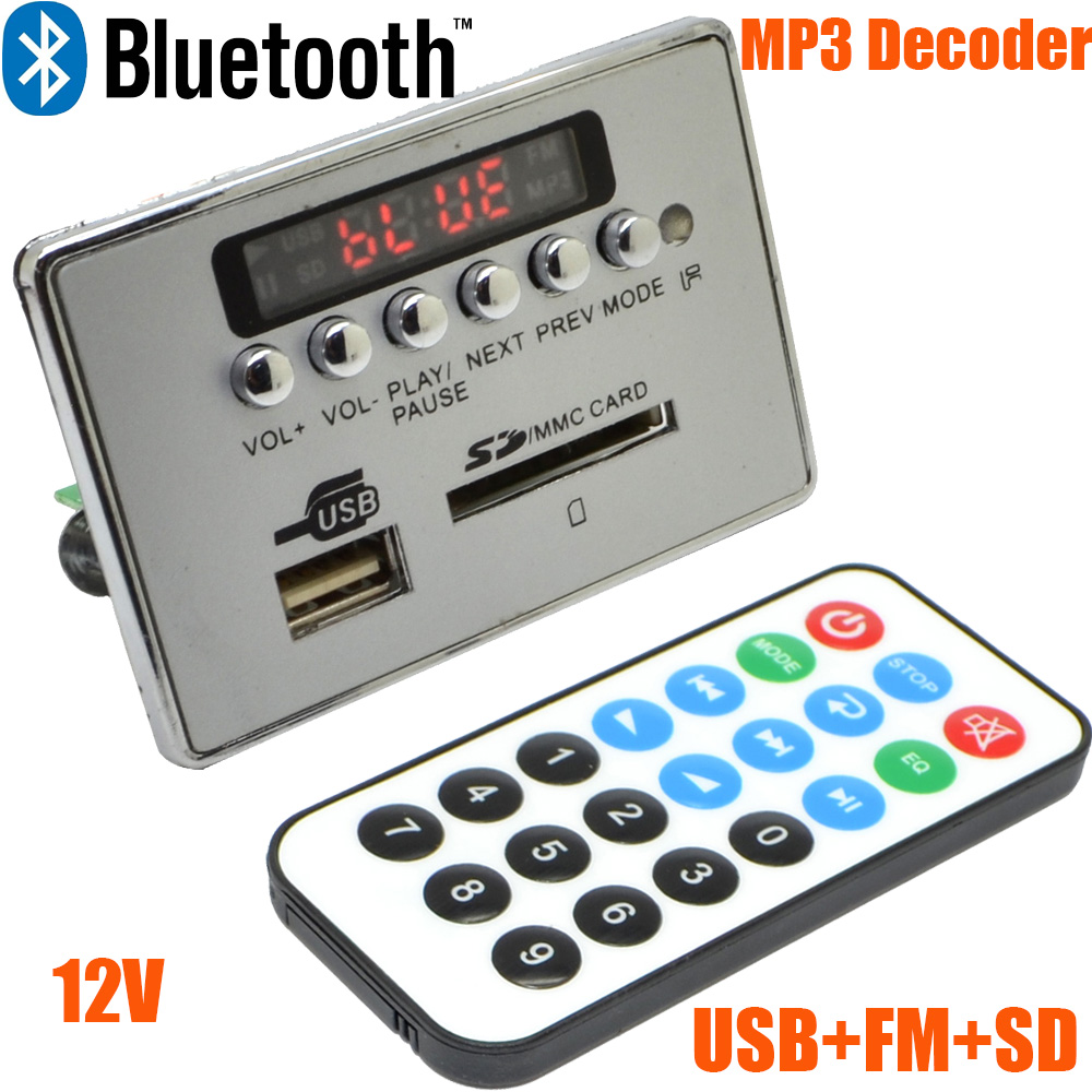 12V LED Auto Bluetooth Draadloze MP3 Decoder Board Audio Module USB SD TF FM-radio Gratis verzending met nummer 12003139