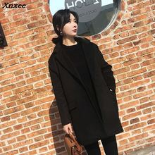 Black Women Wool Blend Coat Single Button Cashmere Jacket Elegant Ladies Coats Xnxee