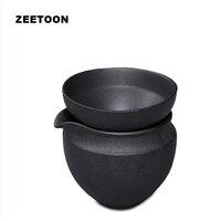 Zen Japanese Volcanic Rock Coarse Pottery Fair Cup Kung Fu Tea Set Teacup Chahai with Tea Strainer Creative Ornament, 200ml