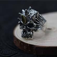 Однотонный 925 серебряный рог череп кольцо реальная фотография