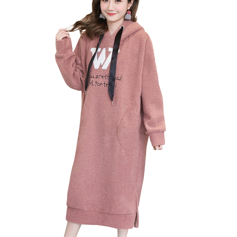 Winter Thick Warm Hoodies Dress Plus Size Sweatshirt for Pregnant Women Midi Long Dresses Pregnancy Korean Fashion Clothes 2018 dana kay women s plus size scarf fit and flare midi dress
