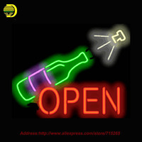 2017 Hot Wine Bottle Neon Sign With Animation Option Glass Tube Handcrafted Custom Recreation Room Iconic