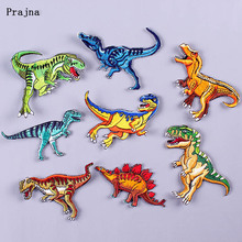 Prajna DIY Dinosaur Patches for Clothing Cartoon Embroidered Iron on Patch to Cloth Animal Cute Applique Garment Accessories F