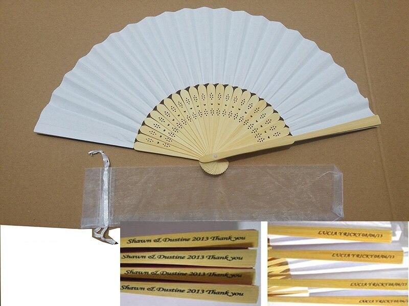 200pcs font b Custom b font Personalized Hand Paper Fans Pocket Folding Bamboo Fan font b