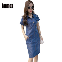 High Quality 2017 Summer Denim Dress Women Clothing Plus Size 3XL Women Jeans Dress Elegant Casual