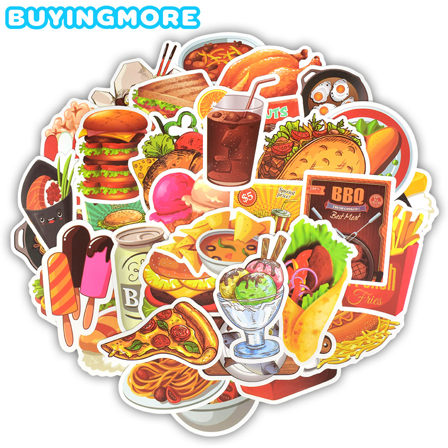 50 PCS Fast Food Stickers Toys For Children Tasty Hamburger Fries Ice Cream Menu Decals Sticker To DIY Fridge Laptop Guitar Car