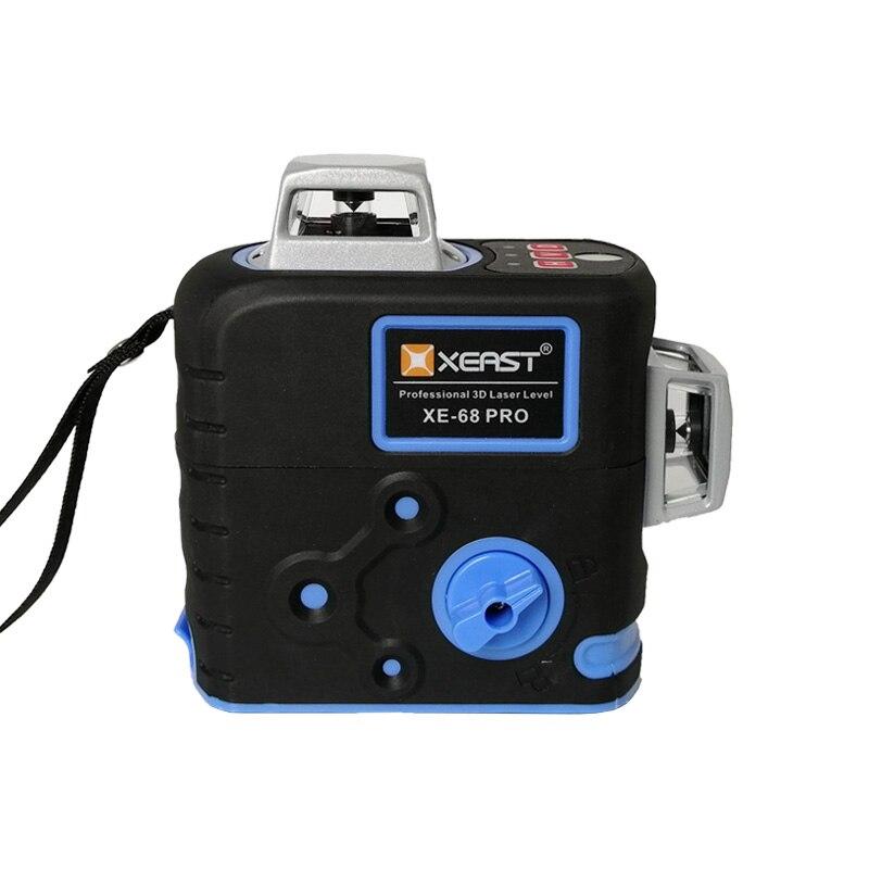 XEAST XE-68R Pro poziom lasera 12 linii poziom 3D samopoziomujący 360 poziome i pionowe Super mocny czerwony z dalmierzem