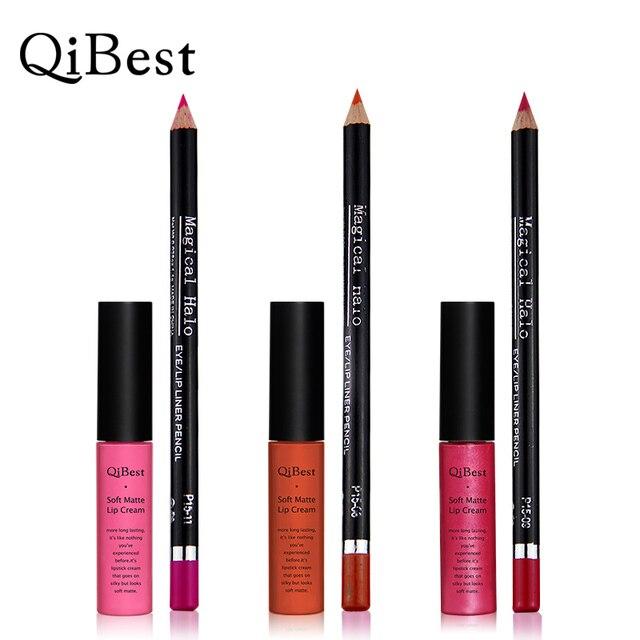 Qibest матовая жидкость для губ крем для губ помада для губ карандаш водонепроницаемый макияж длительный косметический набор сделать инструменты